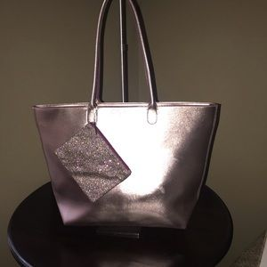 Large Rose Gold Tote with glitter makeup bag